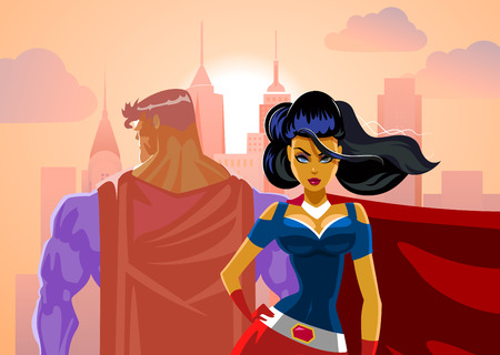 Pareja Superhero: Varón y hembra los superhéroes. Volver a la espalda. Protección Foto de archivo - 41379566