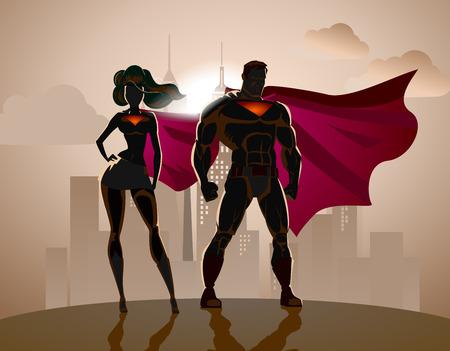 sexo femenino: Pareja Superhero: Hombres y mujeres de superh�roes, posando delante de una luz. Fondo de la ciudad. Vectores