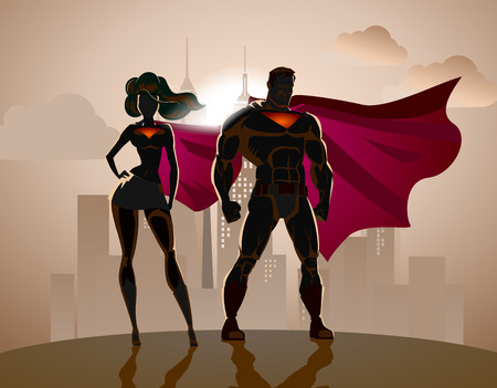 super human: Superhero Couple: Male and female superheroes, posing in front of a light. City background.