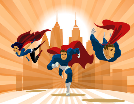 super human: Superhero Team; Team of superheroes, flying and running in front of a urban background.