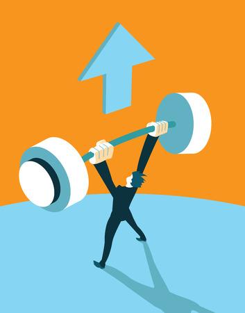 raises: Winner raises the barbell up. Illustration Illustration