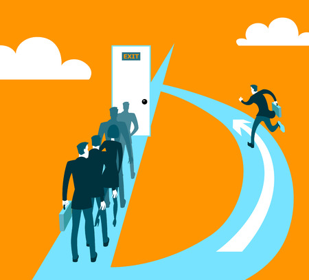 thoroughfare: Different ways of business. Vector illustration