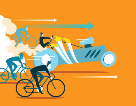 overtaking: Powerful car overtaking bicycles. Business is forging ahead. Illustration