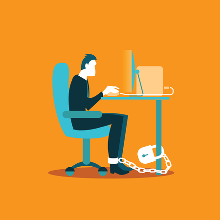 geketend: Office worker chained to a chair in the workplace. Illustration