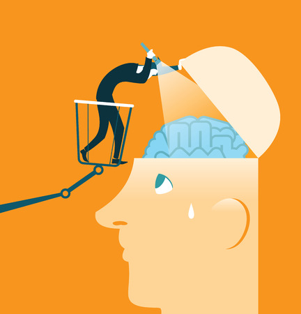 brain research: Brain Research. Closer inspection. Testing. Vector illustration