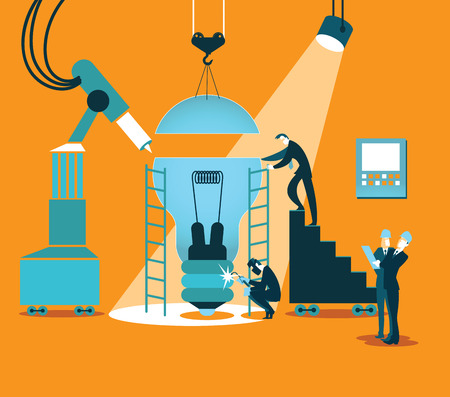 success control: Creating the idea together in the factory. Vector illustration
