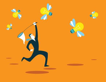 new ideas: Catches new ideas net. Recruitment. Vector illustration Illustration