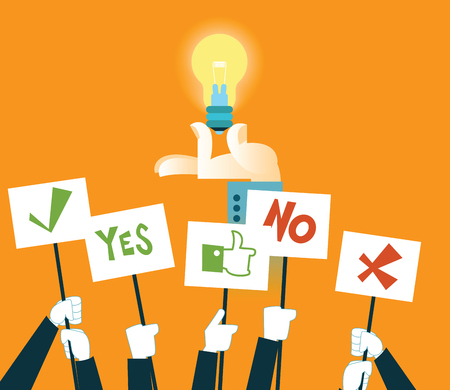 no idea: Vote for the idea. Vector illustration
