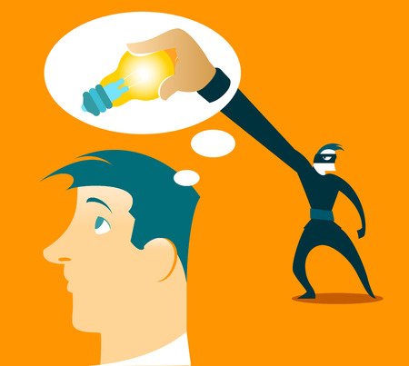 crime: Thief steals your ideas out of your head. Vector illustration
