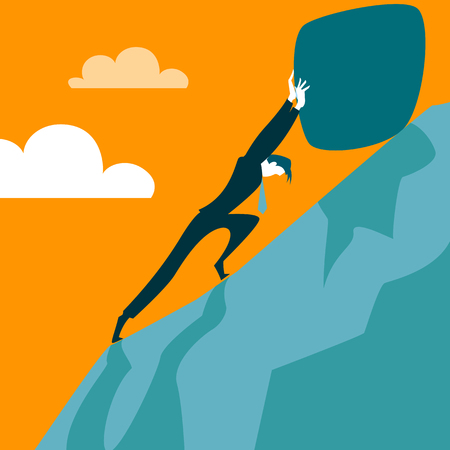 sisyphus: Trying to pull the stone up the hill. Vector illustration
