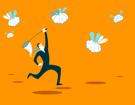 recruitment: Catches new brains net. Recruitment. Vector illustration Illustration