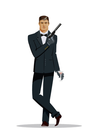 character cartoon: Man super agent. In a black suit with a pistol. Vector illustration
