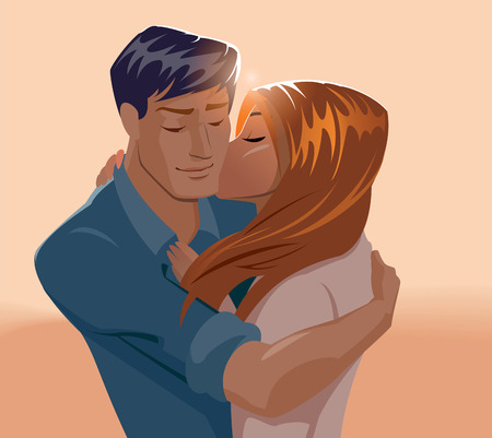 Embraces of a loving couple. Vector illustration Illustration