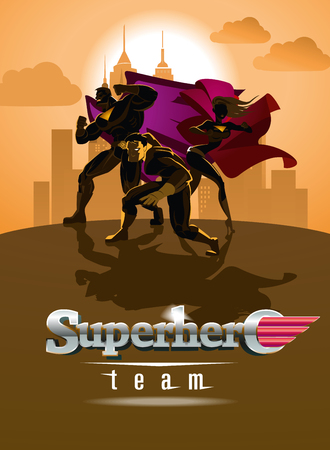 superheroine: Superhero Team; Team of superheroes, posing in front of a light.