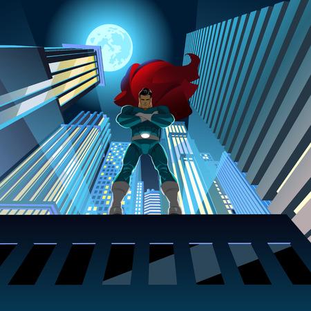 Superheld staande op het dak en het kijken over stad