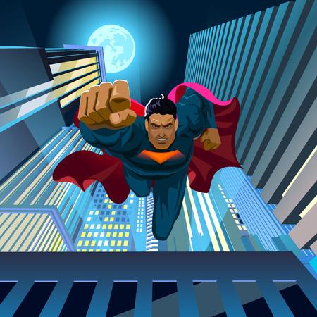Superhero springt van het dak en vliegt naar de camera. vector illustratie