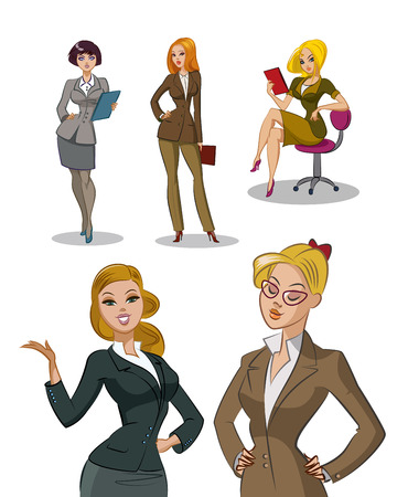secretary: Young office workers. Businesswomans. Womans set. Isolated illustration. Illustration