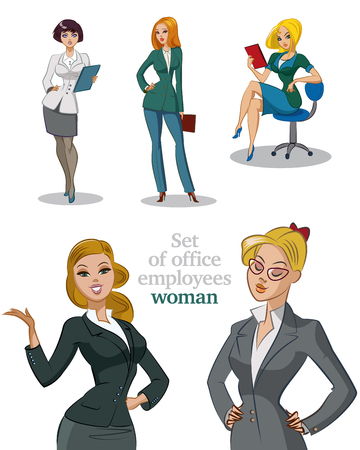 mujer: Jóvenes trabajadores de oficina. Businesswomans. Womans establecen. Ilustración aislada.