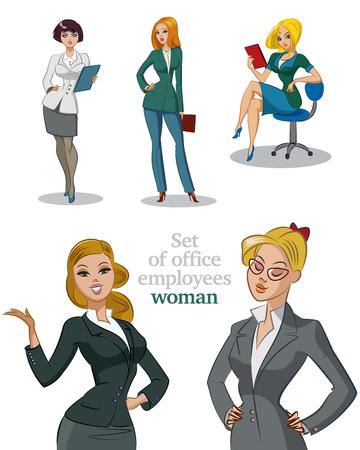 Jonge werknemers kantoor. Businesswomans. Womans ingesteld. Geïsoleerde illustratie.