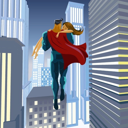 woman male: Superhero rescues his beloved. Holds on hands.