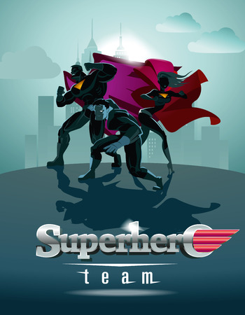 cartoon superhero: Poster. Superhero Team; Team of superheroes, posing in front of a light.