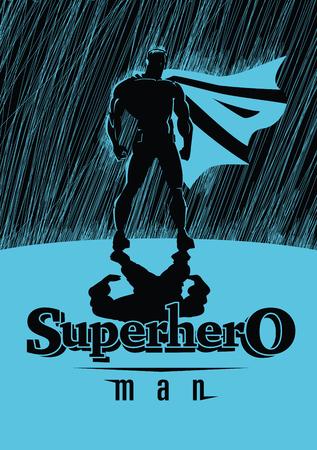 superhero: Superhero in rain: Superhero watching over the city. Illustration Illustration