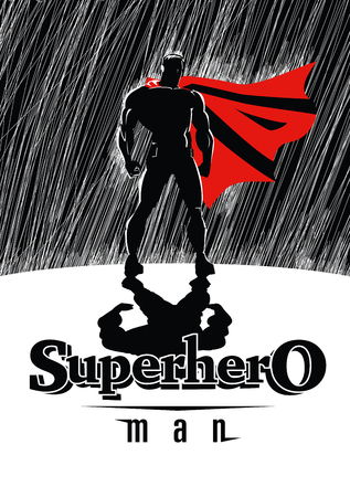 Super héroe en la lluvia: Superhéroe, vigilando la ciudad. Ilustración Foto de archivo - 44755131