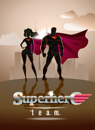 Poster. Superhero Couple: Male and female superheroes, posing in front of a light. City background. Vectores