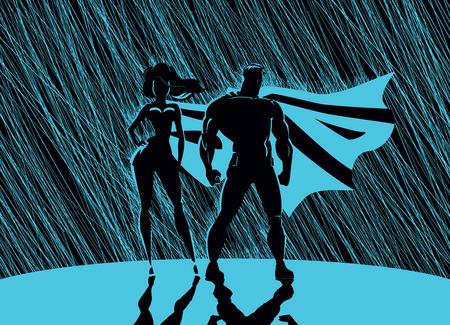 スーパー ヒーローのカップル: 男性と女性ヒーロー、光の前でポーズします。雨背景。