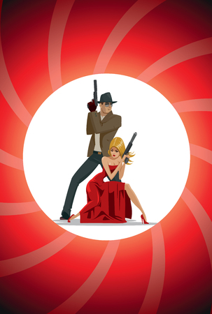 nude black woman: Team of super agents. Posing on camera. In gun barrel. Sexual woman in red dress. Illustration