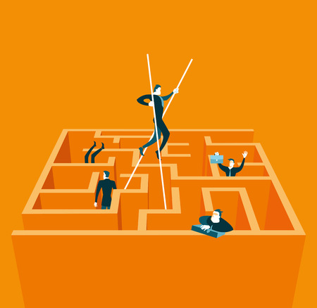 abstract business: On stilts goes through the maze. Vector illustration Illustration