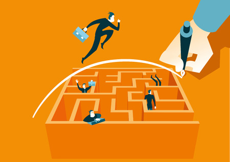 challenges: Hand draws a bridge over a maze. Vector illustration Illustration