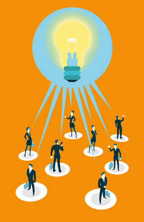 in common: All people have a common idea. Vector illustration