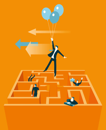 Takes off on the baloons out of the maze. Vector illustration