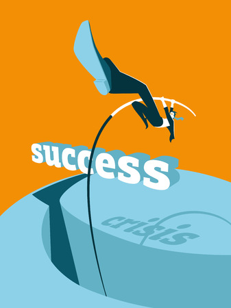 high jump: Overcoming the crisis. Success. Pole vault. Vector illustration