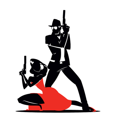 nude black woman: Team of secret agents. Posing on camera. Sexual woman in red dress. Illustration Illustration