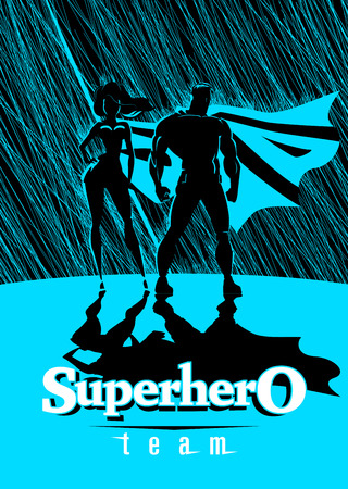 Superhero Couple: Male and female superheroes, posing in front of a light. Rain background. Vector illustration Illustration