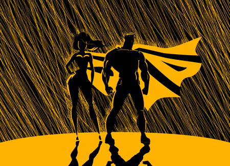 Superhero Couple: Male and female superheroes, posing in front of a light. Rain background.