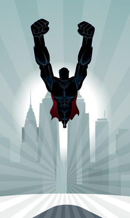 Superhero flying in front of a urban background.