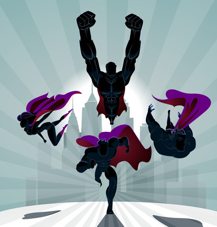 Superhero Team; Team of superheroes, flying and running in front of a urban background.