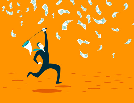 dollar sign: Catches a net cash. Vector illustration