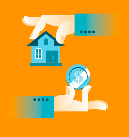 buying a home: Buying a home. Hand holding house. Vector illustration