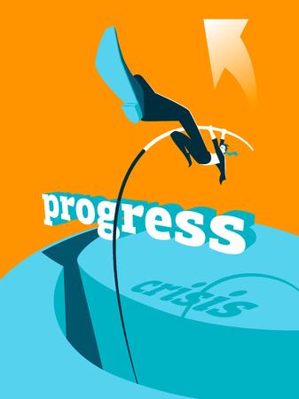 hardship: Overcoming the crisis. Progress. Pole vault. Vector illustration