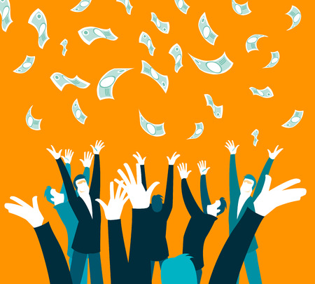unexpected: money money falling from the sky. An unexpected pleasure. Hands catching money. Vector illustration
