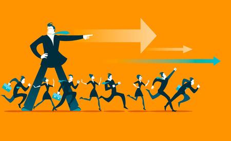competencias laborales: El líder muestra la dirección. Todos corren hacia adelante. ilustración vectorial