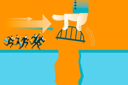 business metaphore: Hand puts the bridge. Vector illustration Illustration