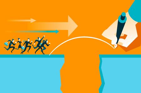 business metaphore: Hand draws a bridge. Vector illustration