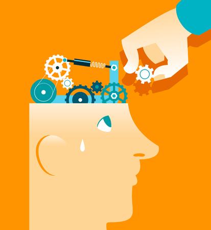 concentration gear: Mechanism in head repair. Vector illustration