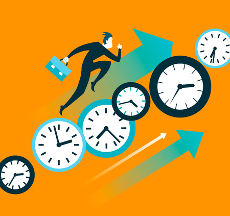 against: Faster than time. Push forward. Vector illustration