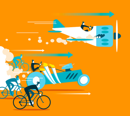 overtaking: Powerful car and plane overtaking bicycles. Business is forging ahead. Vector illustration